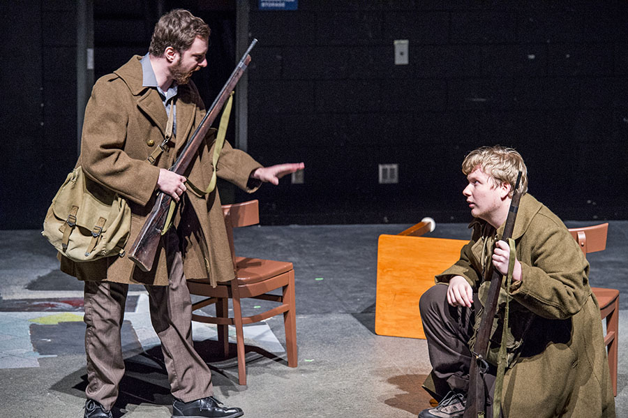 Alex Beach and Jacob Schweighofer in BROTHERS IN ARMS by Julien Freij, Theatre Odyssey's Best Play at the Fourth Annual Student Ten-Minute Playwriting Festival. Photo credit: Cliff Roles