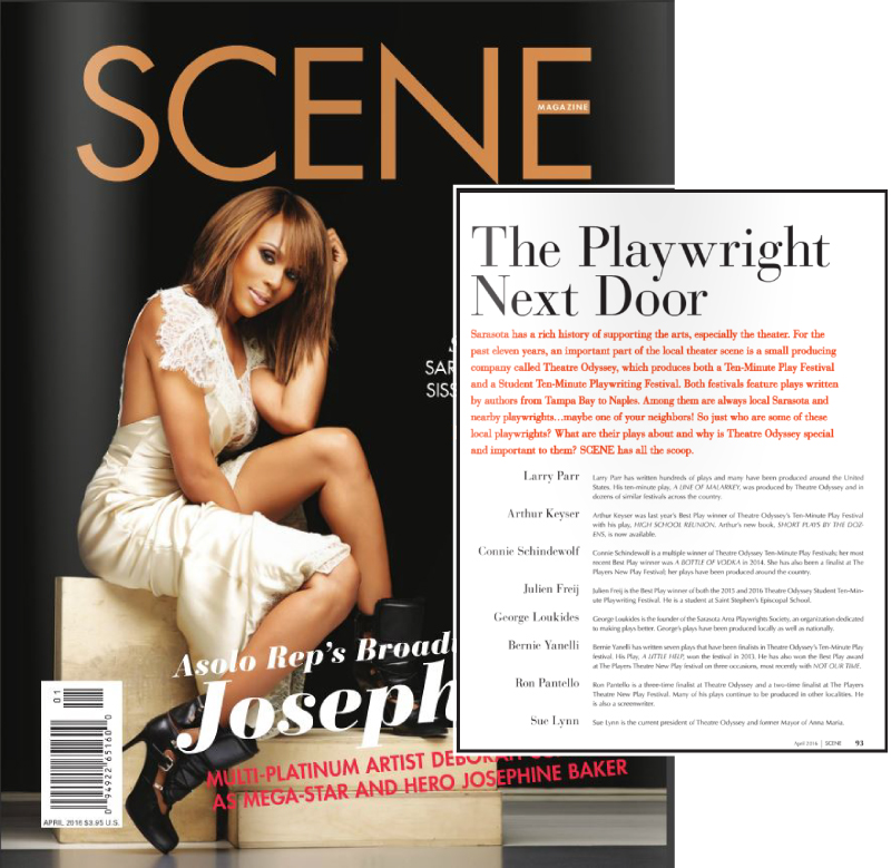 April 2016 Issue of Scene Magazine Sarasota, featuring Theatre Odyssey's Ten-Minute Play Festival