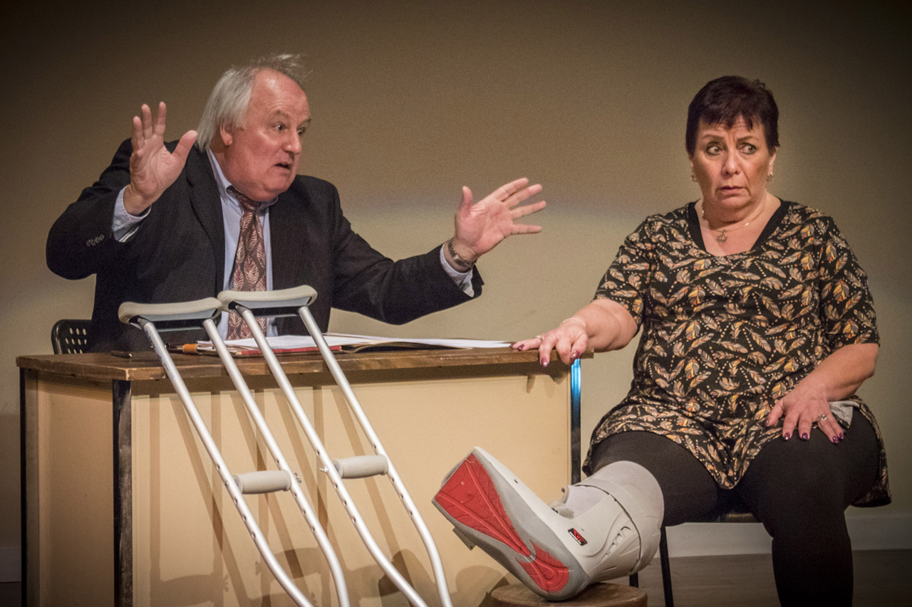 Theatre Odyssey's Tom Aposporos and Leona Collesano in Lou Bitterman Attorney at Law