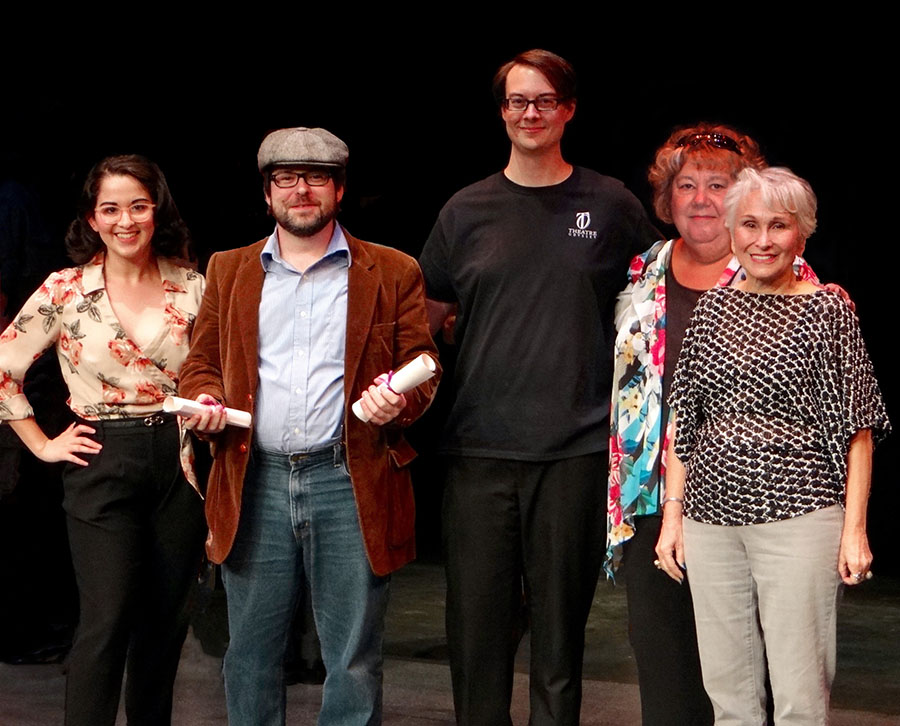 The Best: Playwright Dylan Jones (in the little grey hat), flanked by Johana Davila (at left) and Philip Troyer, Sara Logan and Sandra Musicante. (Photo by Tami Vaughan)