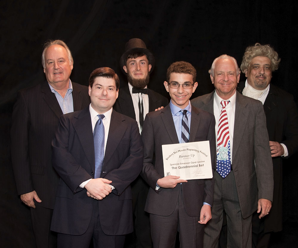 2018 Sixth Annual Student Playwriting Festival Runner Up and cast - Tom Aposporos, Dylan Jones, Jeff Snelling, Spencer Emerson Opal-Levine, Preston Boyd (Director and cast member) and David Yamin. (Photo credit: Don Walker)
