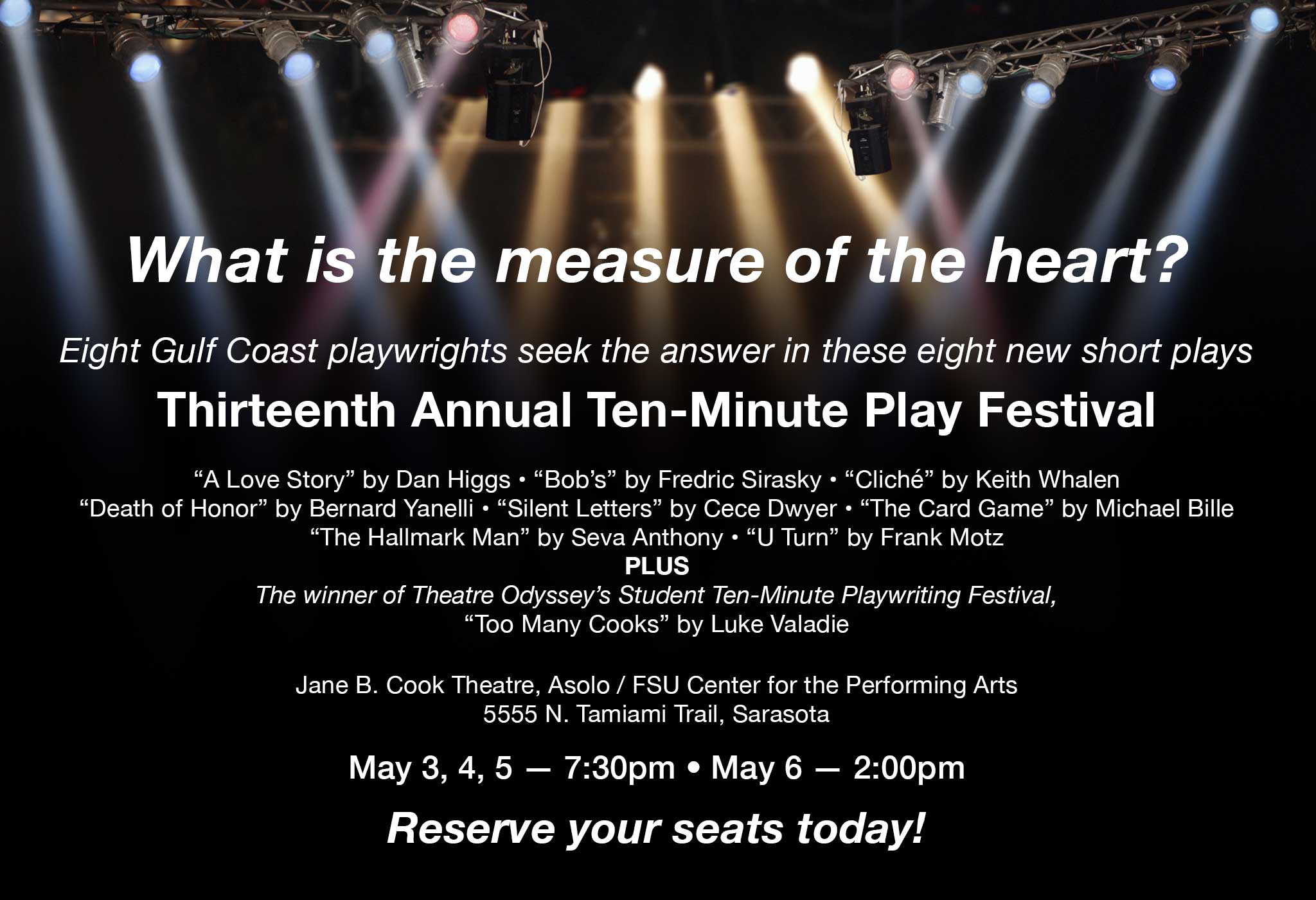 Thirteenth Annual 2018 Ten-Minute Play Festival by Theatre Odyssey, Sarasota