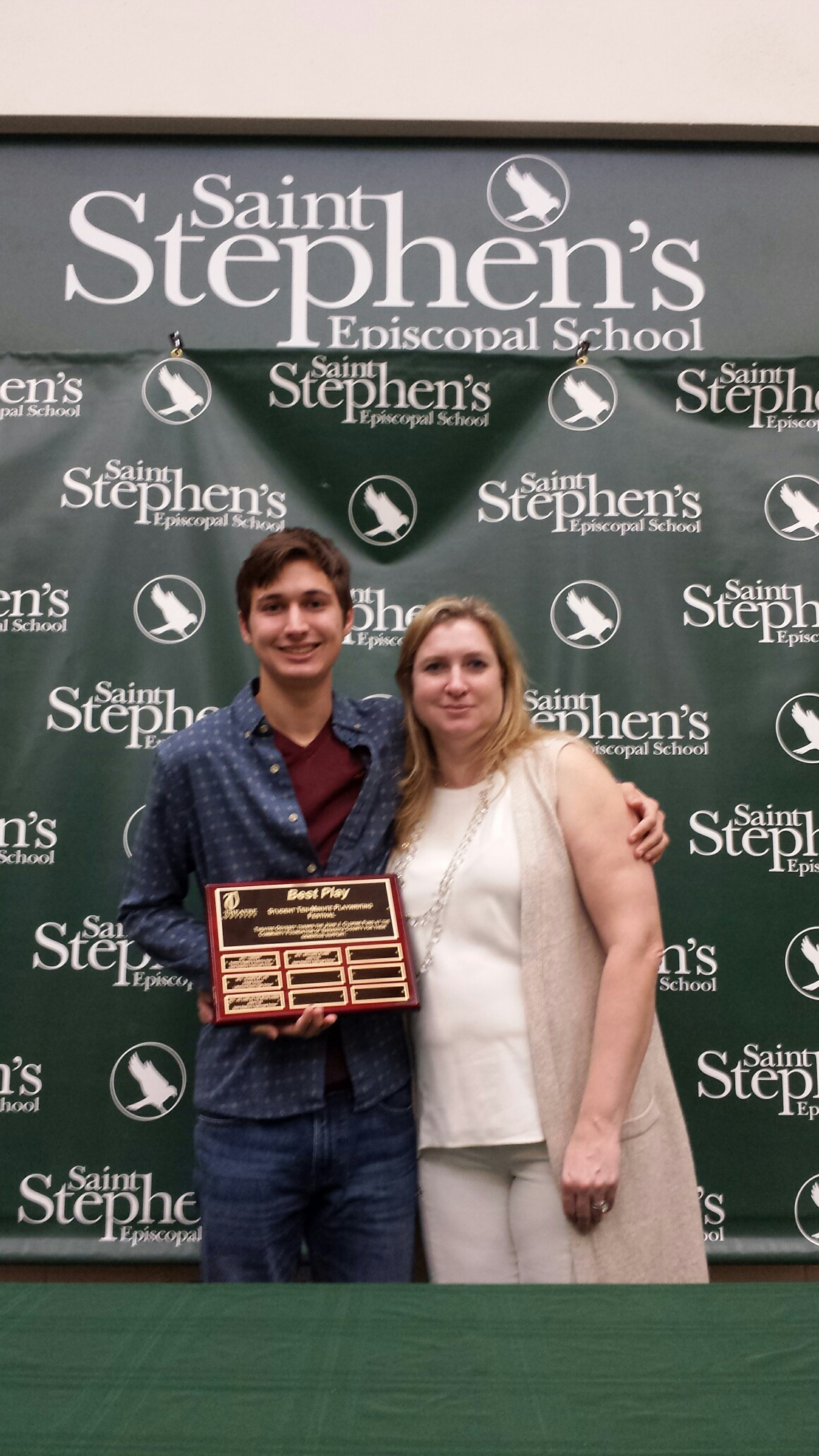 Fourth Annual Student Ten-Minute Playwrighting Festival winner Julien Friej with his mom, Mrs. Freij