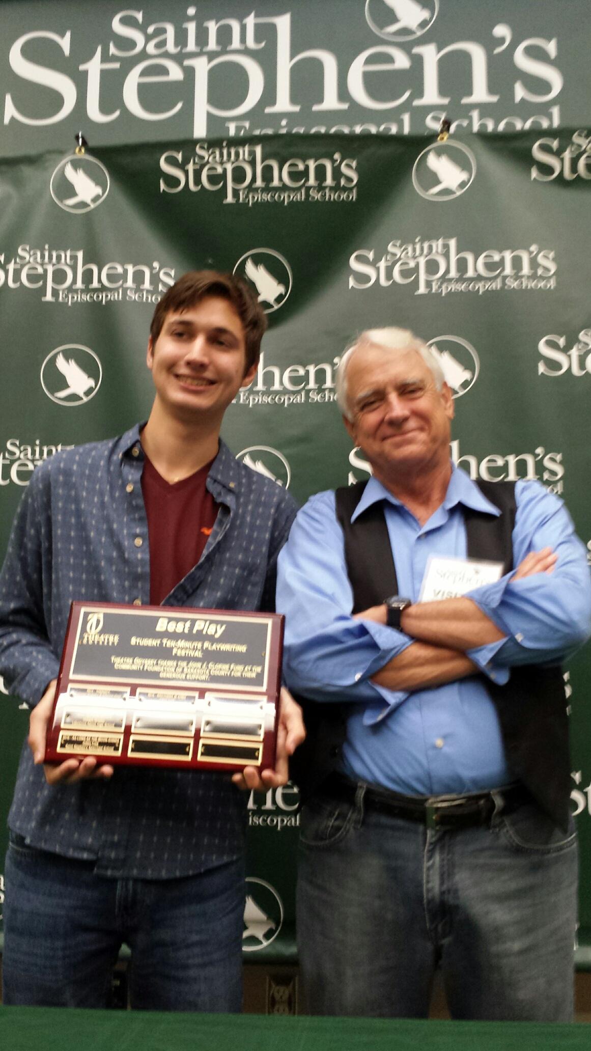 Fourth Annual Student Ten-Minute Playwrighting Festival winner Julien Friej with Director, Preston Boyd