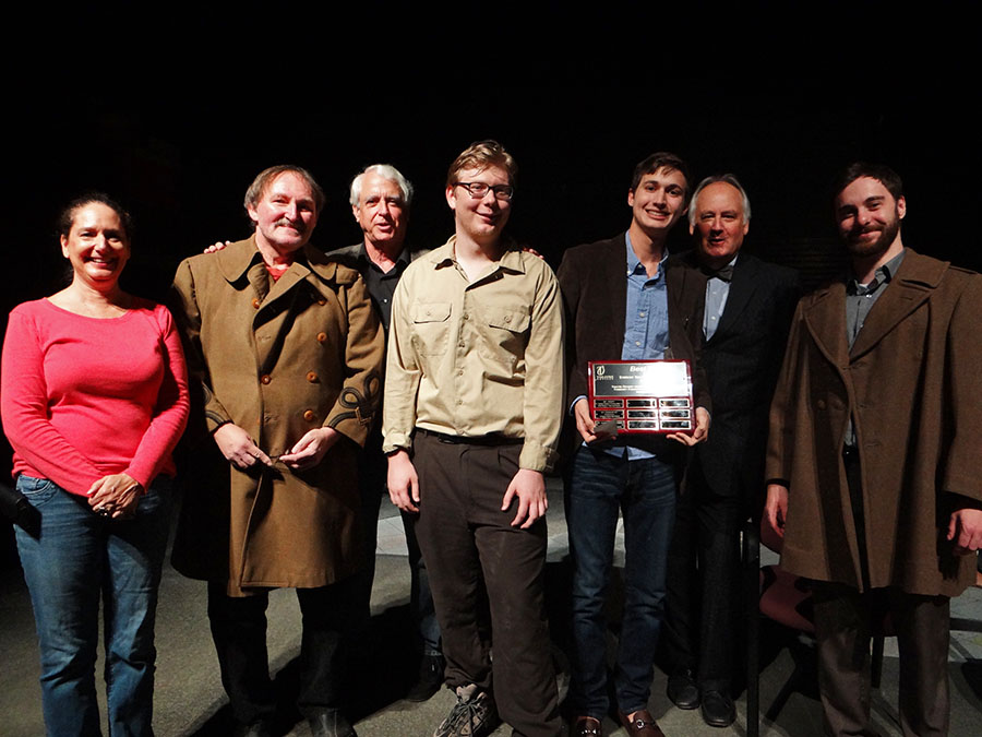 Cast and crew of BROTHERS IN ARMS. From Left to right: Tami Vaughan, Chuck Conlon, Preston Boyd (director), Jacob Schweighofer, Julien Freij (writer and Student at Saint Stephen's Episcopal School), Tom Aposporos, and Alex Beach.