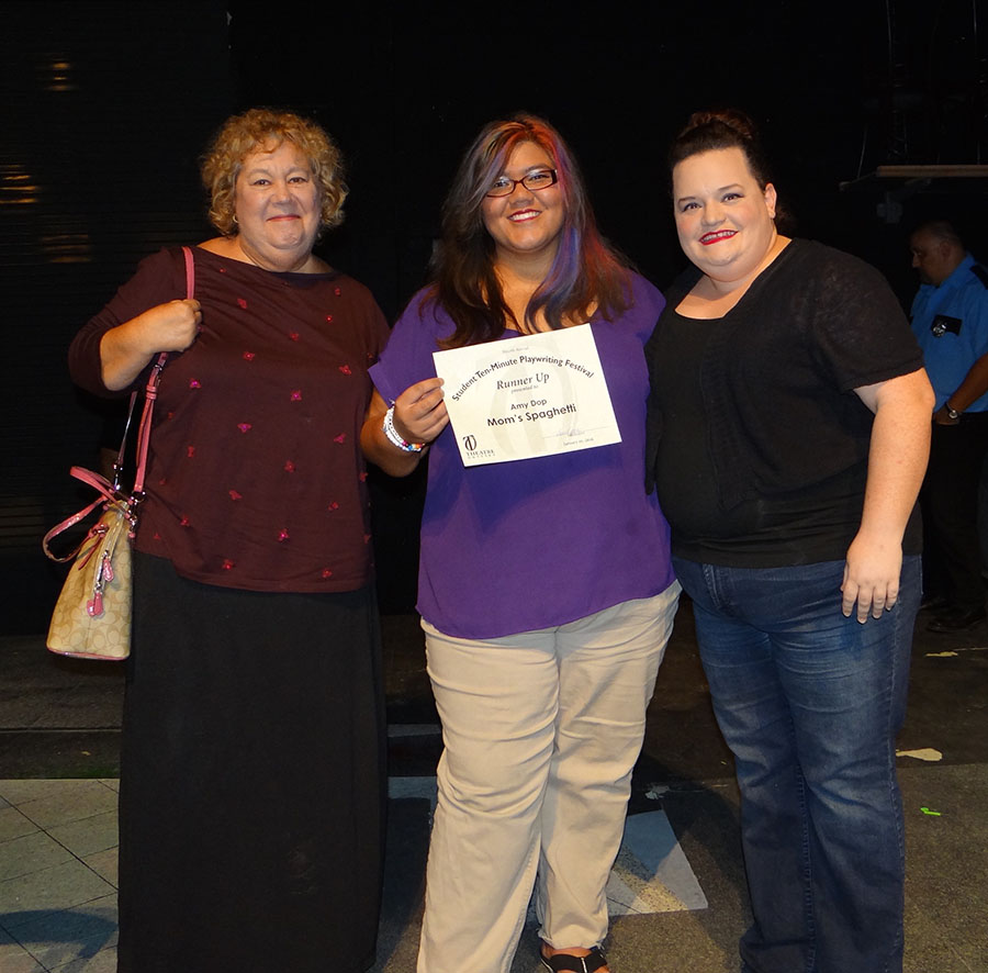 Cast and crew of MOM'S SPAGHETTI: Sara Logan (director), Amy Dop (writer and student at Bayshore High School) and Debbie White.