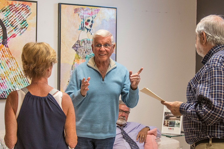 Bob Trisolini instructs auditioning actors before they play the scene, while author Frank Motz observes.