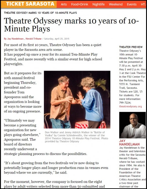 Theatre Odyssey Featured in Ticket Sarasota and Suncoast View