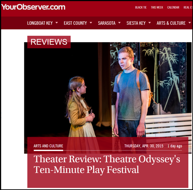Theatre Odyssey feature in Sarasota Observer for 2015 Play Festival