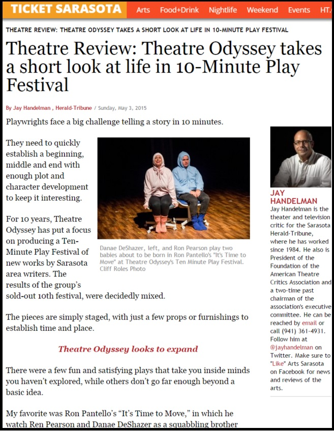 Theatre Odyssey's 2015 Ten-Minute Play Festival Reviewed in Ticket Sarasota