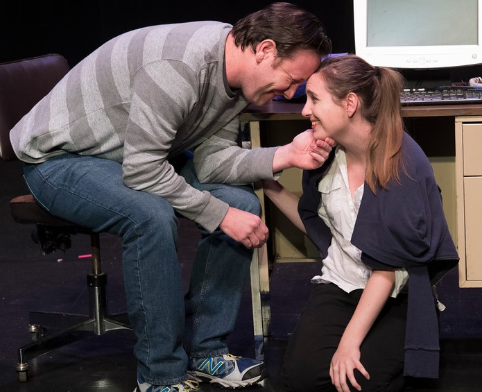 Joshua Brin, left, and Nicole Cunningham, right, in Sylvia Reed's HANDS, directed by Seva Anthony. Photo by Cliff Roles. Winning play in Theatre Odyssey's 2016 Eleventh Annual Ten-Minute Play Festival