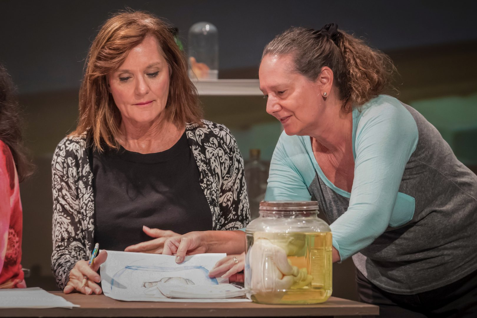 """Pamela Hopkins and Tami Vaughan in """"Motherless Child"""" by Peggy Aultman. Photo by Cliff Roles."""