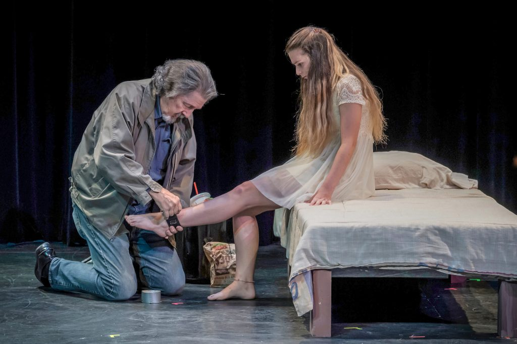 "Don Walker and Olivia Yagy in ""Tagged"" by Jim Moss. Photo by Cliff Roles."