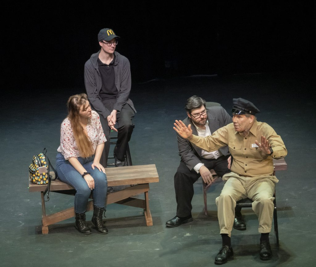 Lauren Jones, Philip Troyer, Dylan Jones and Charlie Tyler in THE TRAGEDY OF BENJAMIN FINCH by Mary Margaret Steber.