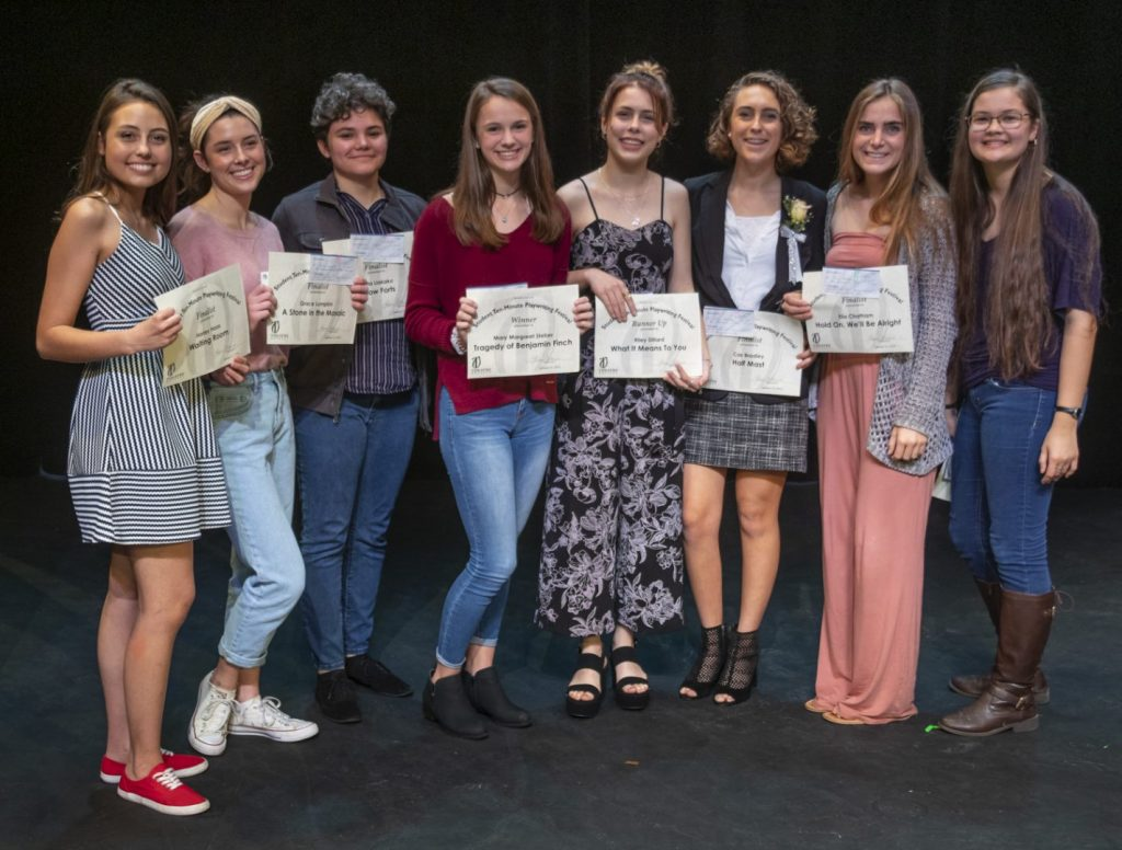 2019 Student Playwrights (L to R): Harley Haas, Grace Lumpkin, Bella Liakako, Mary Margaret Steber, Riley Dillard, Cas Bradley, Elia Chatham, and Kea Kamiya.