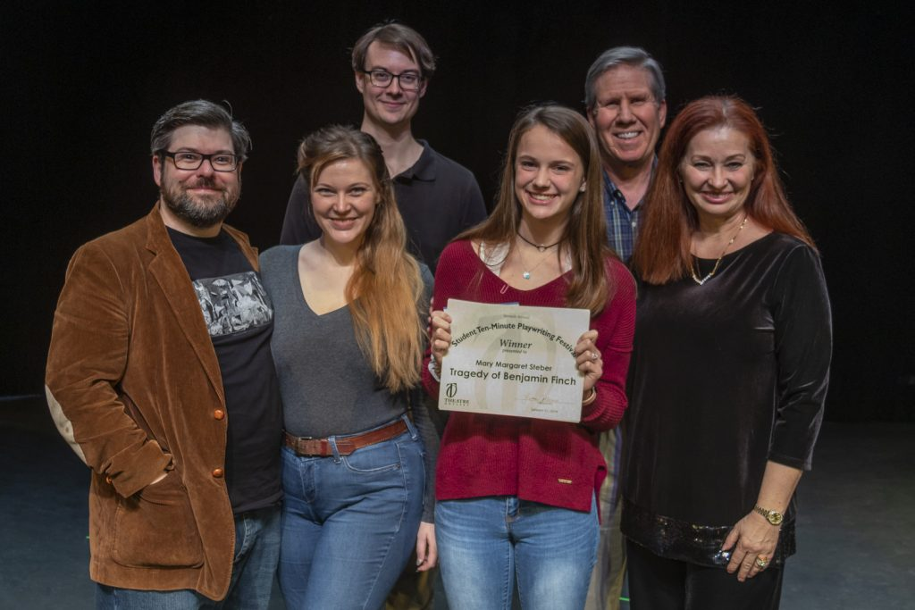 The Tragedy of Benjamin Finch (L to R): Dylan Jones, Lauren Jones, Philip Troyer, playwright Mary Margaret Steber, Charlie Tyler, director Michele Strauss.