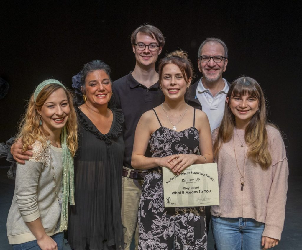 What It Means To You (L to R): Tahlia Chinault, director Seva Anthony, Philip Troyer, playwright Riley Dillard, James Kassees, and Olivia Yagy.